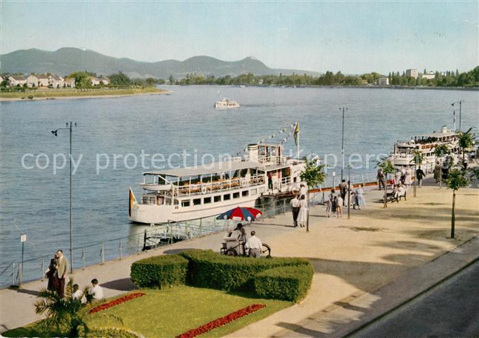 AK / Ansichtskarte Bonn Rhein Rheinpromenade mit Blick zum Siebengebirge Rheinfaehre Kat. Bonn