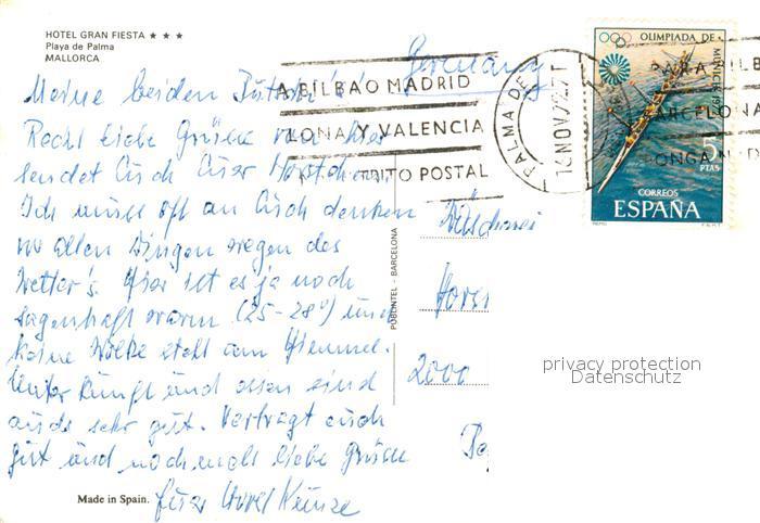 Ak Ansichtskarte Playa De Palma Mallorca Fliegeraufnahme Hotel Gran Fiesta Kat Spanien