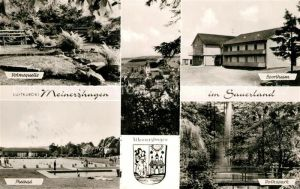 AK / Ansichtskarte Meinerzhagen Volmequelle Freibad Sportheim Volkspark Wappen Kat. Meinerzhagen
