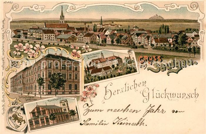 AK / Ansichtskarte Saulgau Kloster Siessen Schullehrer Seminar Turnhalle Litho Kat. Bad Saulgau