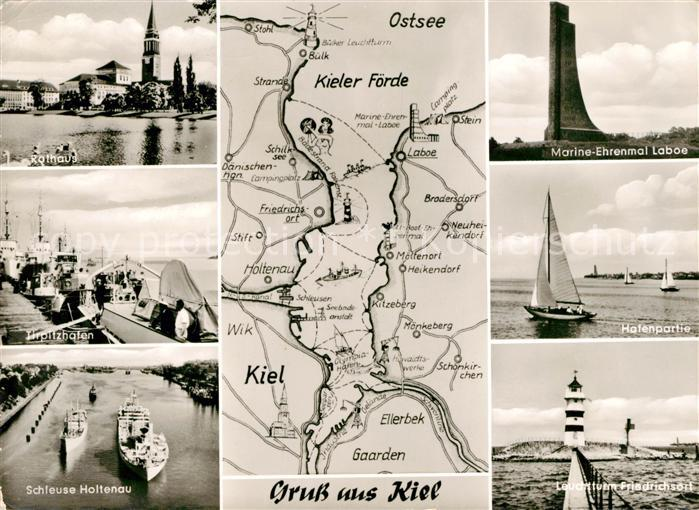 AK / Ansichtskarte Kiel Rathaus Tirpitzhafen Schleuse Holtenau Marine Ehrenmal Laboe Hafenpartie Leuchtturm Friedrichsort Kat. Kiel