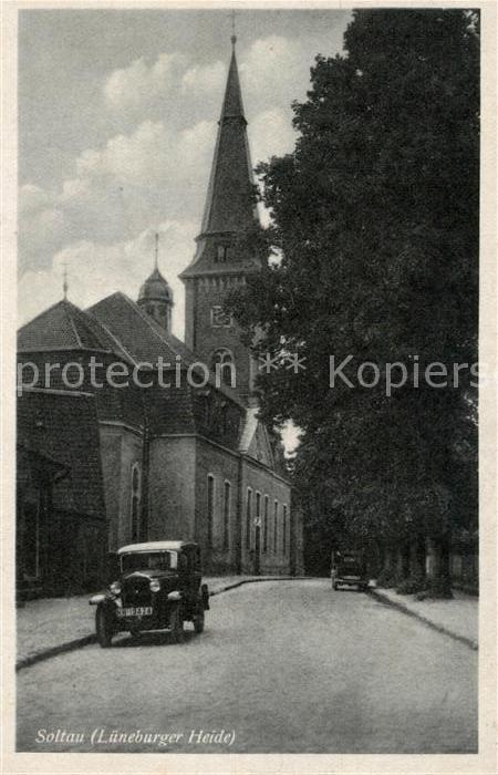AK / Ansichtskarte Soltau Kirche Oldtimer Kat. Soltau