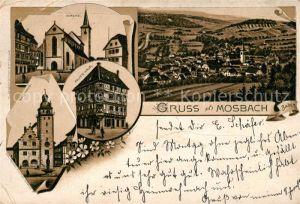 AK / Ansichtskarte Mosbach Baden Kirche Rathaus Palm s Haus Litho Kat. Mosbach