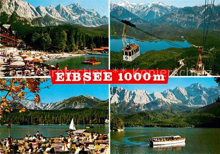 AK / Ansichtskarte Eibsee Eibsee Pavillon Motorbootrundfahrten Zugspitze Luftseilbahn Kat. Grainau