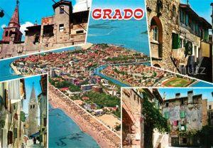 AK / Ansichtskarte Grado Gorizia Teilansichten Gasse Alte Haeuser Kirche Fliegeraufnahme