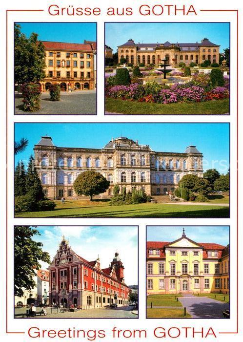 AK / Ansichtskarte Gotha Thueringen Innungshalle Heinrich Heine Bibliothek Orangerie Museum Rathaus Schloss Friedrichsthal Portal Kat. Gotha