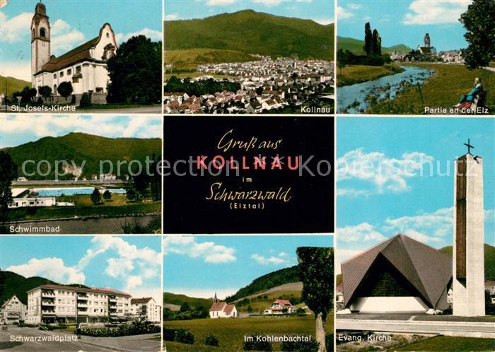 Kollnau St Josefs Kirche Panorama Elzpartie Schwimmbad Schwarzwaldplatz Kohlenbachtal Ev Kirche Kat. Waldkirch