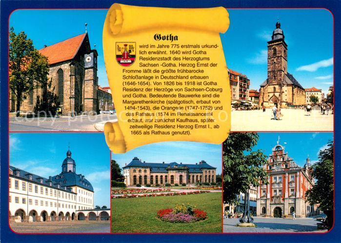 Gotha Thueringen Augustinerkirche Margarethenkirche Schloss Friedenstein Orangerie mit Heinrich Heine Bibliothek Rathaus Chronik Kat. Gotha
