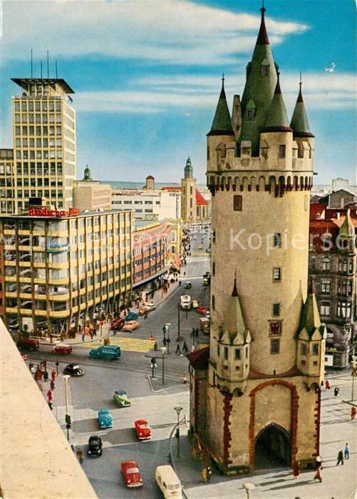 Frankfurt Main Blick vom Bayerhaus auf Eschenheimer Turm Fernmeldehochhaus Kat. Frankfurt am Main