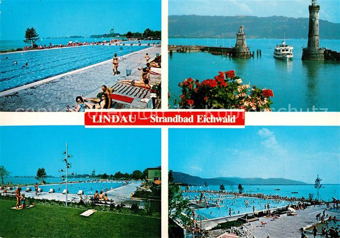 Lindau Bodensee Strandbad Eichwald Hafeneinfahrt Kat Lindau