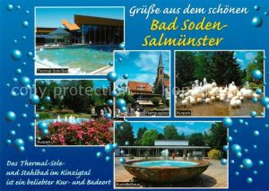 AK / Ansichtskarte Salmuenster Bad Soden Thermalbad Kurpark Rathausplatz Kurmittelhaus Kat. Bad Soden am Taunus