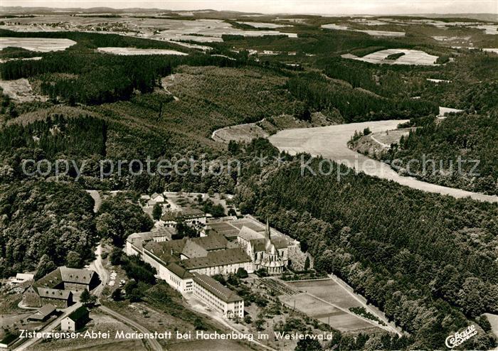 AK / Ansichtskarte Hachenburg Westerwald Fliegeraufnahme Zisterzienser Abtei Marienstatt  Kat. Hachenburg