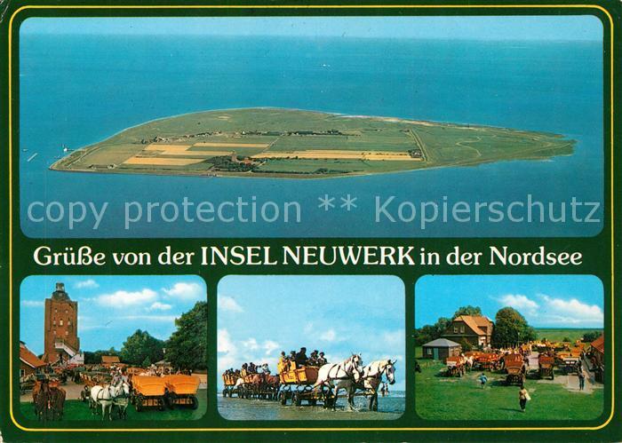 Insel Neuwerk Fliegeraufnahme Pferdekutschen Kat. Hamburg