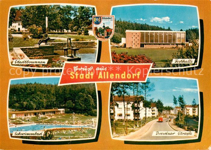 AK / Ansichtskarte Allendorf Hohenfels Stadtbrunnen Festhalle Schwimmbad Dresdner Strasse Kat. Dautphetal