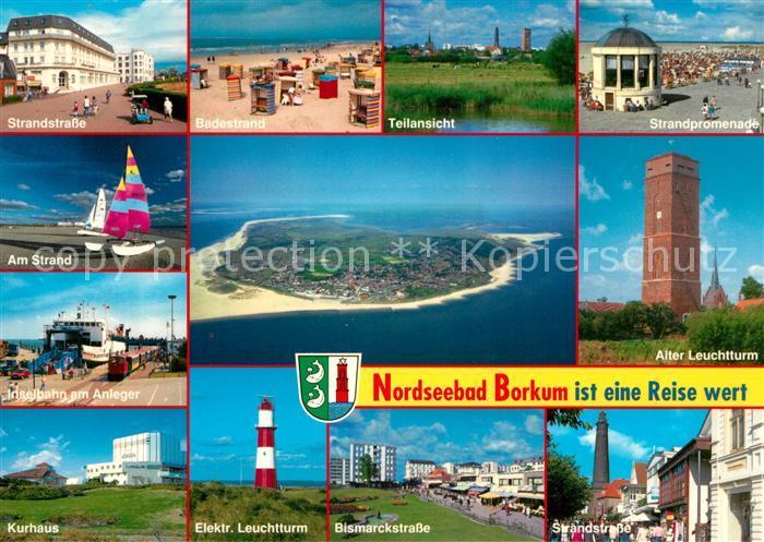 Borkum Karte Strassen.Ak Ansichtskarte Borkum Nordseebad Strandstrasse Strand Promenade Musikpavillon Segeln Inselbahn Faehre Kurhaus Leuchtturm Strassenpartien