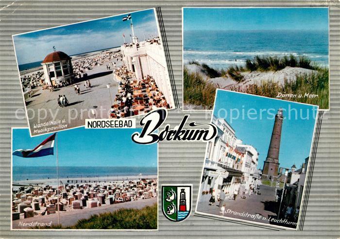 AK / Ansichtskarte Borkum Nordseebad Wandelhalle Musikpavillon Duenen und Meer Strand Leuchtturm Kat. Borkum