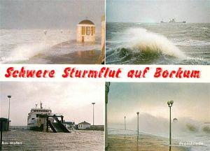 AK / Ansichtskarte Borkum Nordseebad Musikpavillon Schwerre Sturmflut Hafen Promenade Kat. Borkum
