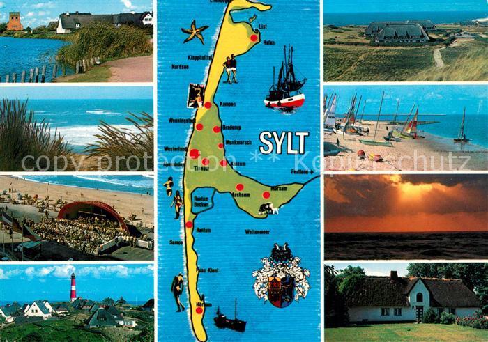 AK / Ansichtskarte Insel Sylt Impressionen der Insel Strand Duenen Leuchtturm Sonnenuntergang am Meer Landkarte Kat. Westerland