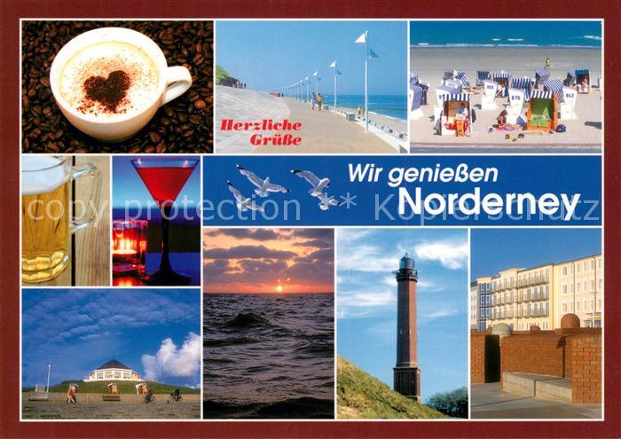 AK / Ansichtskarte Norderney Nordseebad Getraenke Strand Promenade Leuchtturm Hotel Sonnenuntergang am Meer Kat. Norderney