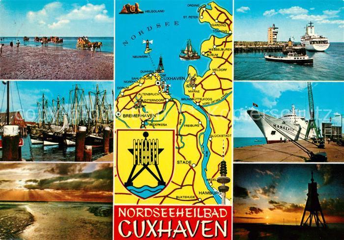 AK / Ansichtskarte Cuxhaven Nordseebad Wattenfahrt Fischerhafen Fischkutter Sonnenuntergang Kugelbake Hanseatic Faehre Landkarte Kat. Cuxhaven