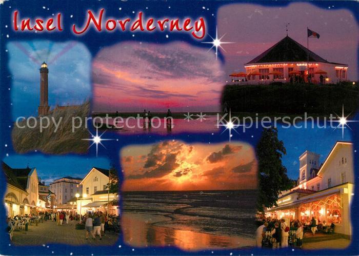 AK / Ansichtskarte Norderney Nordseebad Leuchtturm Sonnenuntergang Gaststaette Strassenpartie Kat. Norderney