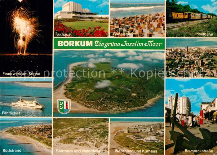 AK / Ansichtskarte Borkum Nordseebad Feuerwerk Strand Faehrschiff Kurhaus Inselbahn Bismarckstrasse Wellenbad Fliegeraufnahme Kat. Borkum