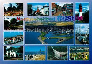 AK / Ansichtskarte Buesum Nordseebad Teilansichten Hafen Fischkutter Leuchtturm Fliegeraufnahme Kat. Buesum
