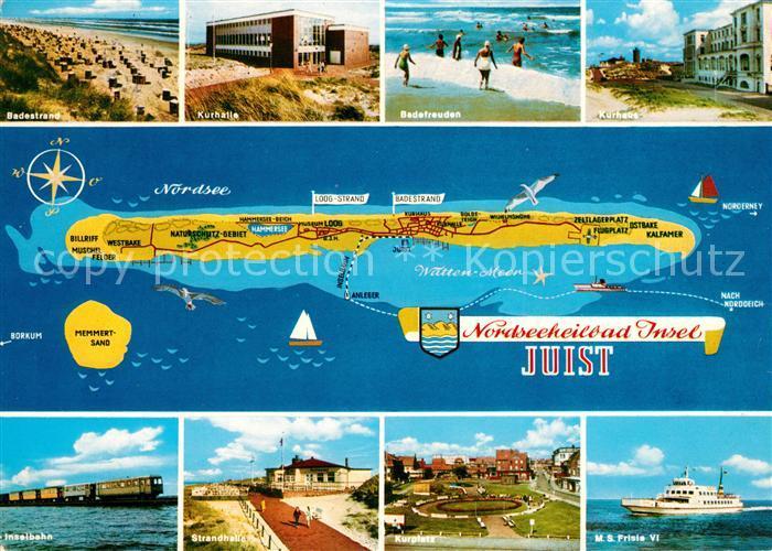 AK / Ansichtskarte Juist Nordseebad Badestrand Kurhaus Inselbahn Strandhalle Kurplatz MS Frisia VI Landkarte Kat. Juist