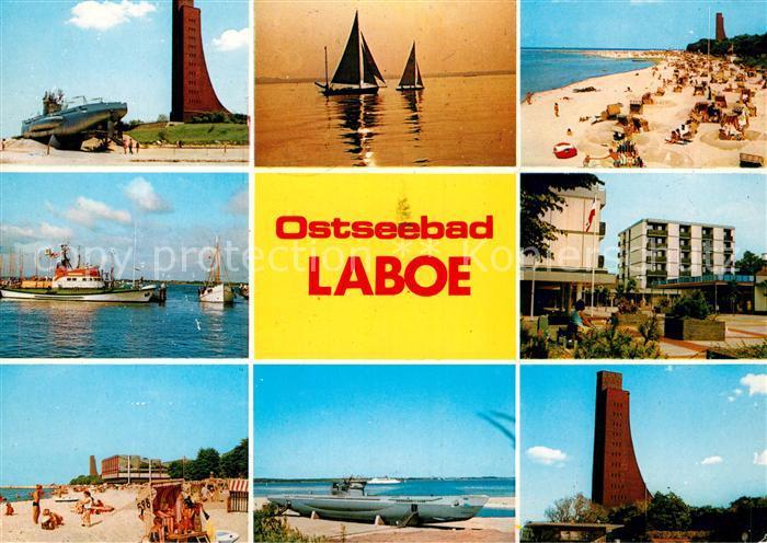 AK / Ansichtskarte Laboe U Boot Ehrenmal Hafen Strand Segelboot Platz Kat. Laboe