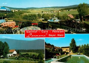 AK / Ansichtskarte Rinchnach Gasthof Cafe Pension Panorama Swimming Pool Landschaftspanorama Bayerischer Wald Kat. Rinchnach