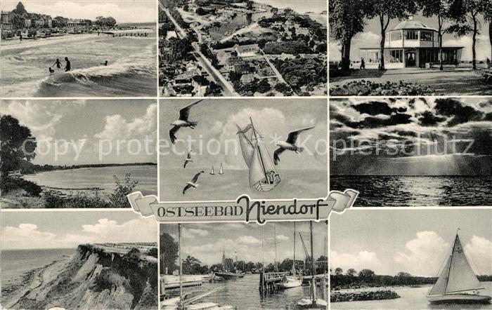 AK / Ansichtskarte Niendorf Ostseebad Fliegeraufnahme Strand Hafen Steilkueste Kat. Timmendorfer Strand