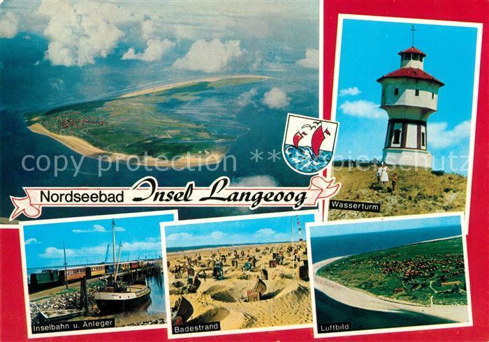 AK / Ansichtskarte Langeoog Nordseebad Fliegeraufnahme Wasserturm Inselbahn Anleger Badestrand Kat. Langeoog