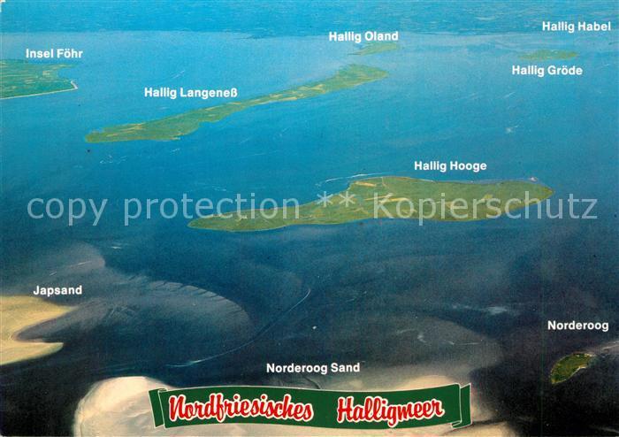 AK / Ansichtskarte Nordfriesland Fliegeraufnahme Halligmeer Inselkarte Kat.