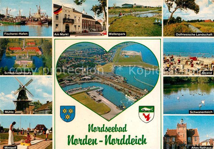 AK / Ansichtskarte Norddeich Ostfriesland Fischerei Hafen Markt Wellenpark Muehle Schloss Luetetsburg Strand Rathaus  Kat. Norden