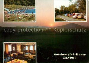 AK / Ansichtskarte Zandov Ceske Lipy Autokempink Slunce Restaurant Freibad Campingplatz