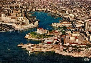 AK / Ansichtskarte Marseille Bouches du Rhone Vue aerienne du Phoro Fort Saint Jean et Vieux Port Collection Reflets de Provence