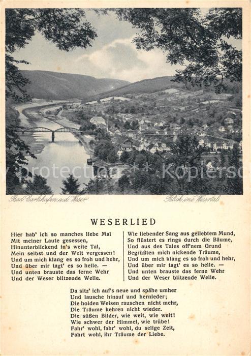 Bad Karlshafen Panorama Blick ins Wesertal Weserlied Kupfertiefdruck Kat. Bad Karlshafen
