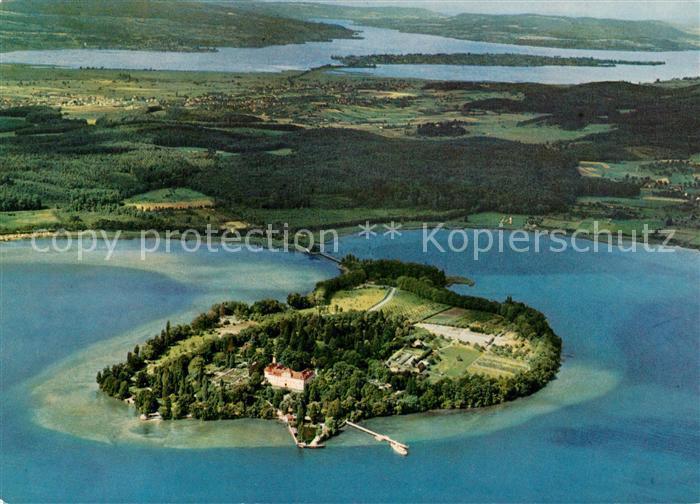Insel Mainau Insel Reichenau Untersee Ausfluss des Rheins Fliegeraufnahme Kat. Konstanz Bodensee