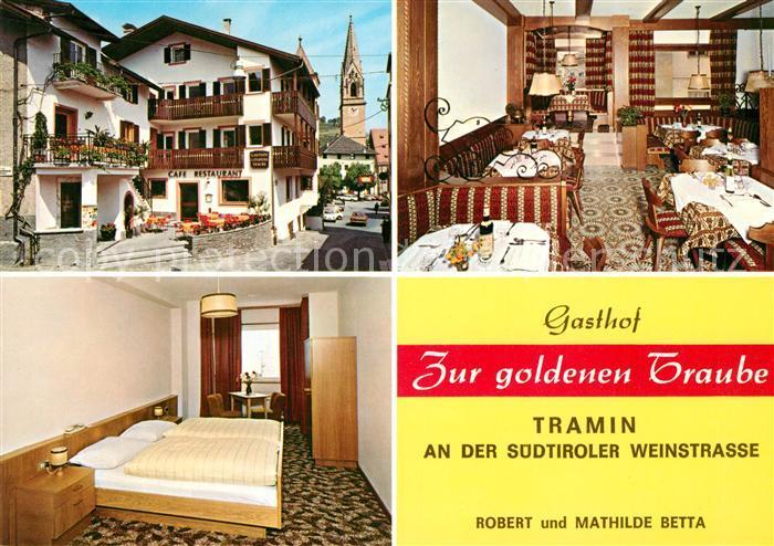 Tramin Weinstrasse  Gasthof Zur goldenen Traube Blick zur Kirche