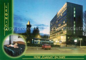 Legnica Hotel Cuprum Nachtaufnahme Kat. Liegnitz Niederschlesien