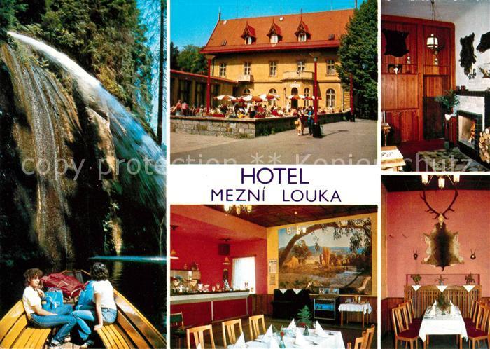 AK / Ansichtskarte Hrensko Hotel Mezni Louka Wasserfall Kat. Herrnskretschen