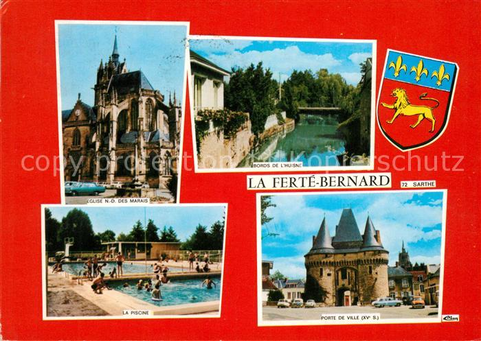 AK / Ansichtskarte La Ferte Bernard Eglise Bords de l Huisne Piscine Porte de Ville Kat. La Ferte Bernard