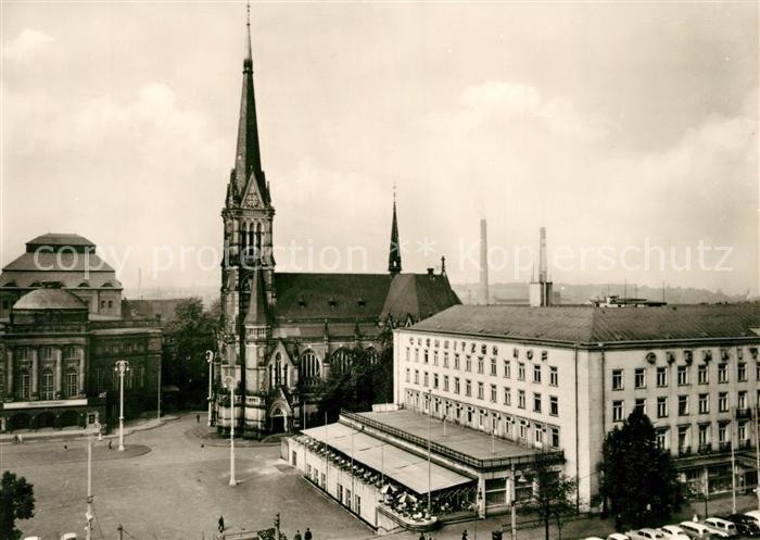 AK / Ansichtskarte Karl Marx Stadt HO Hotel Chemnitzer Hof mit Kirche Kat. Chemnitz