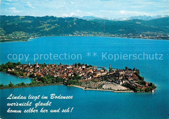AK / Ansichtskarte Lindau Bodensee Halbinsel mit Blick auf Bregenz und Vorarlberger Hochgebirge Fliegeraufnahme Kat. Lindau (Bodensee)