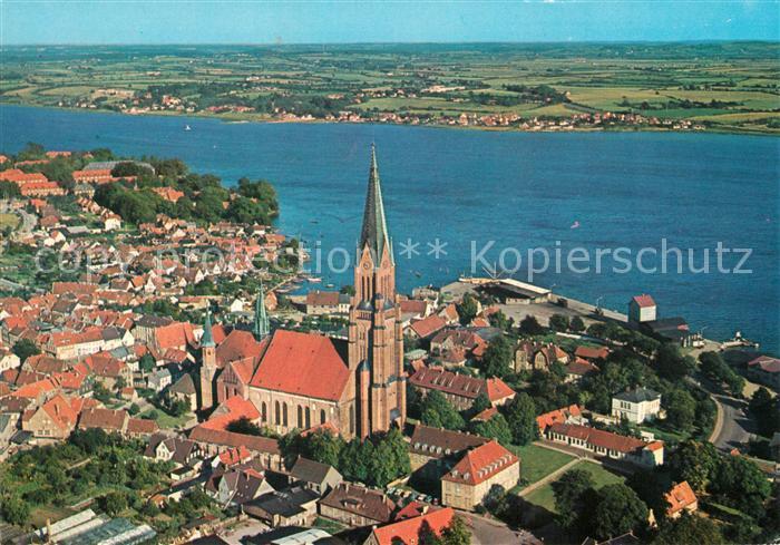 Schleswig Holstein St Petri Dom Blick ueber die Schlei Fliegeraufnahme Kat. Schleswig