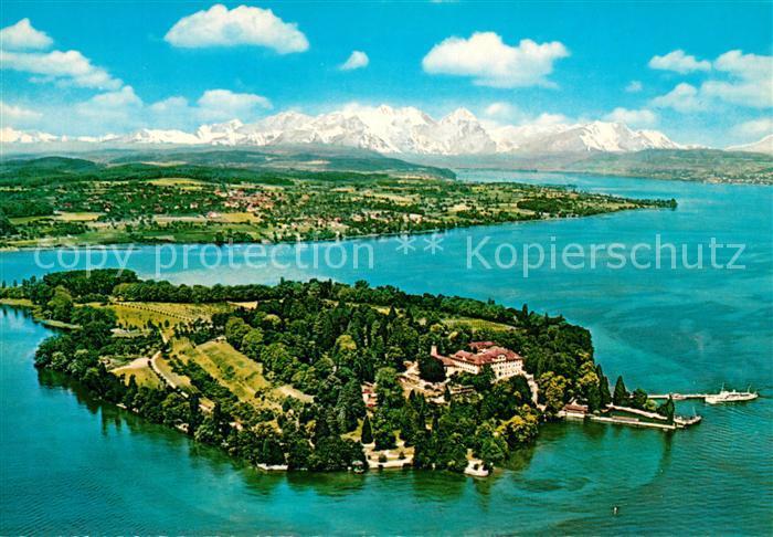 Insel Mainau mit Alpenkette Fliegeraufnahme Kat. Konstanz Bodensee
