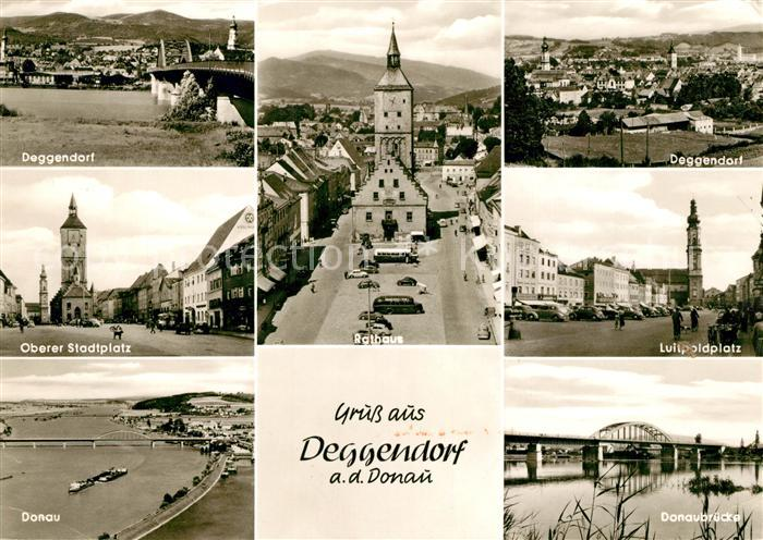 AK / Ansichtskarte Deggendorf Donau Donaubruecke Oberer Stadtplatz Rathaus Luitpoldplatz Kat. Deggendorf