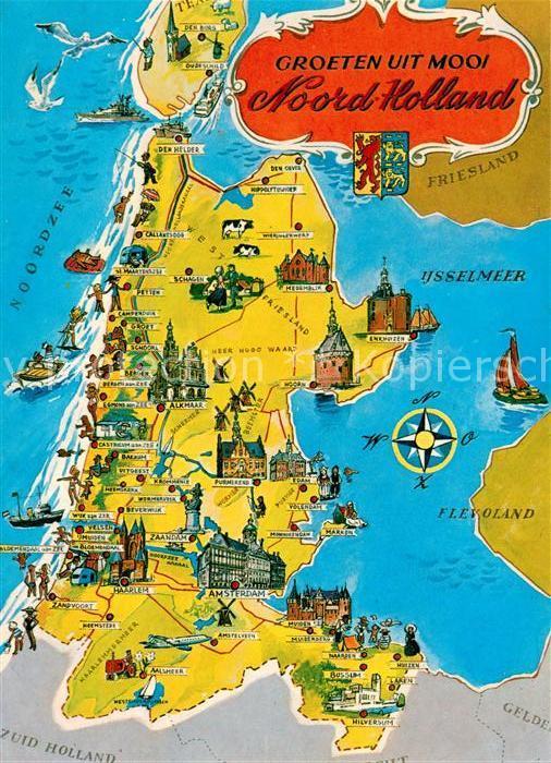 Karte Von Holland Landkarte Niederlande.Ak Ansichtskarte Noord Holland Landkarte Mit Sehenswuerdigkeiten