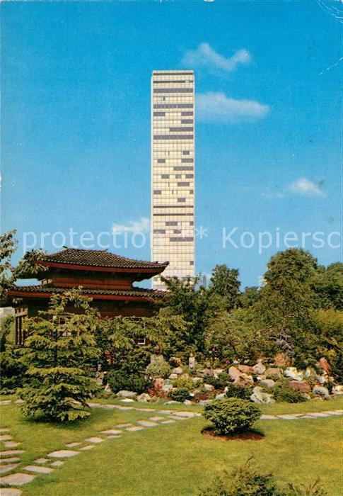 AK / Ansichtskarte Leverkusen Bayer Hochhaus vom Jap Garten gesehen Kat. Leverkusen