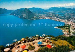 AK / Ansichtskarte Lugano TI Fliegeraufnahme Strand  Kat. Lugano